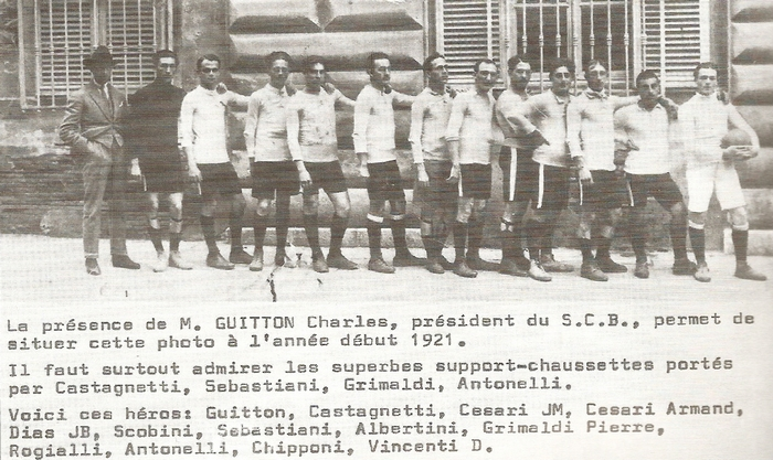 Photo d'équipe du SC Bastia en 1921.