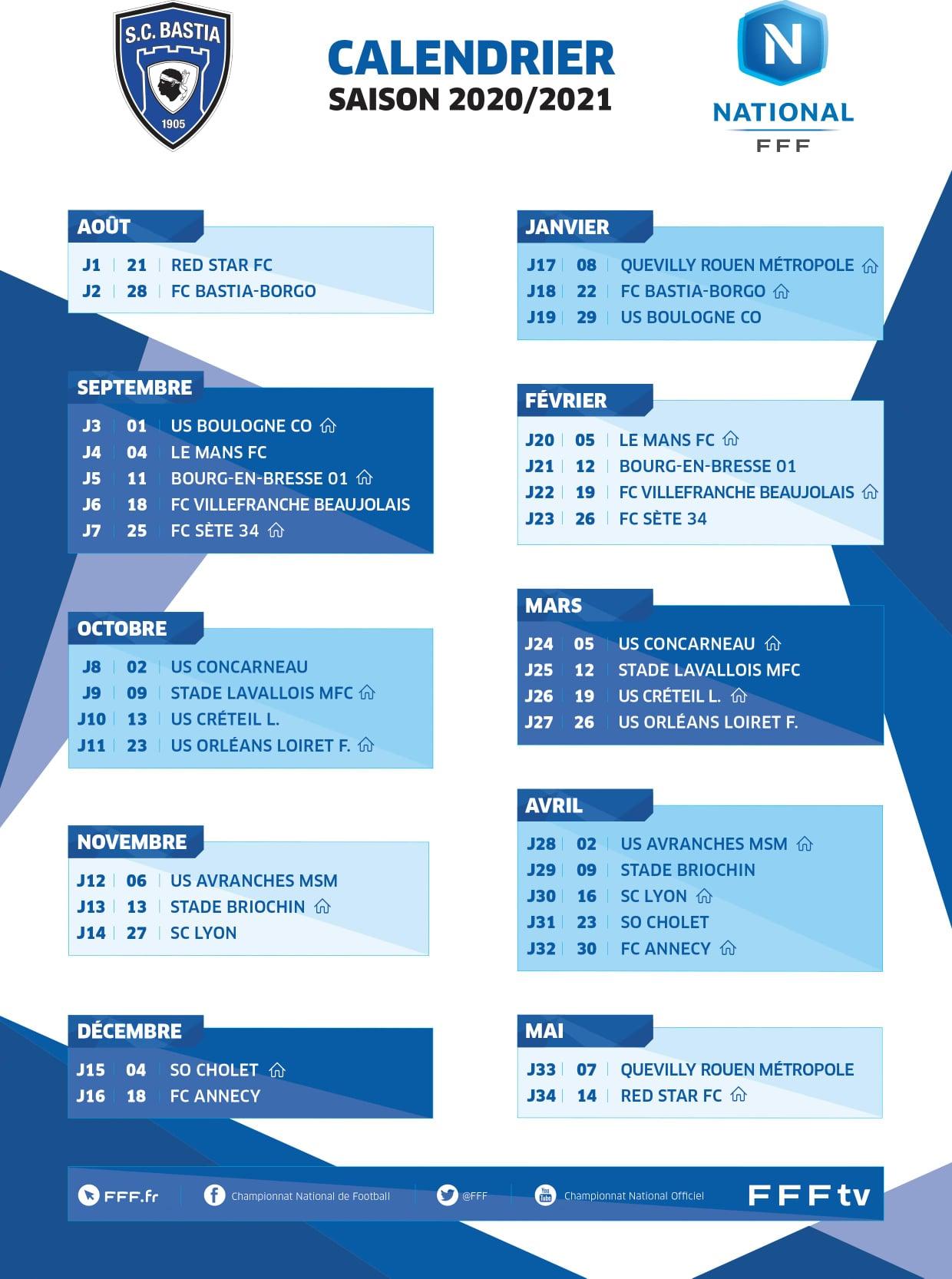Le calendrier 2020/2021 du SC Bastia publié