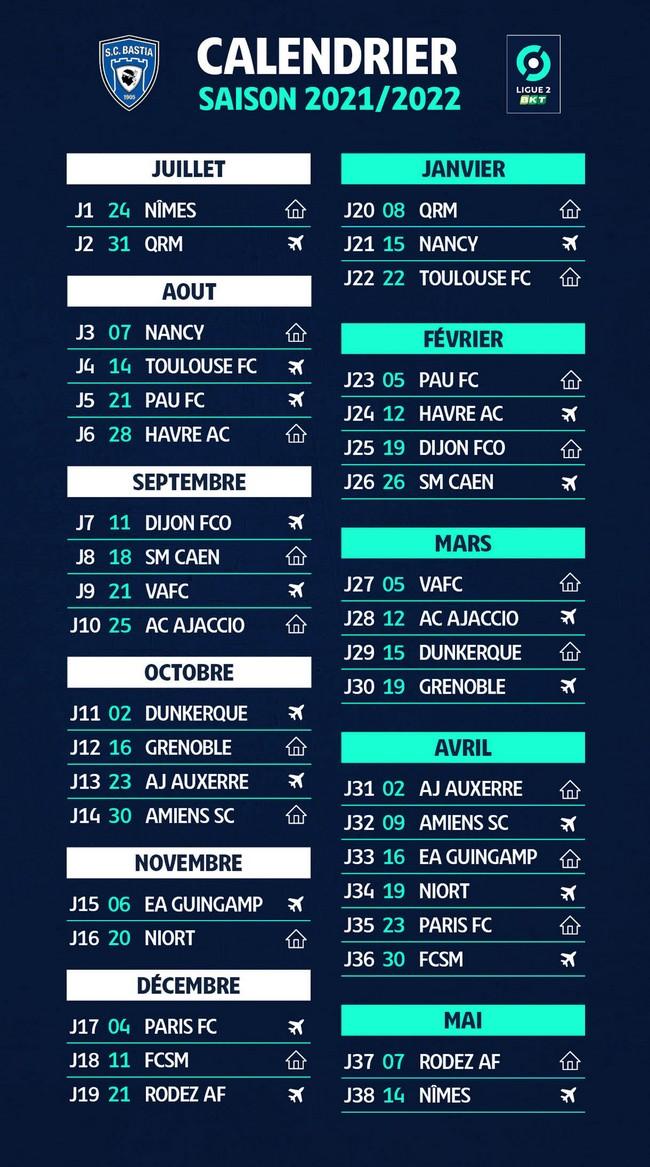 Calendrier 2022 Ligue 2 Le calendrier de Ligue 2 2021/2022 dévoilé !