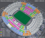 Plan stade de France pour la finale de Coupe de la Ligue 2015.